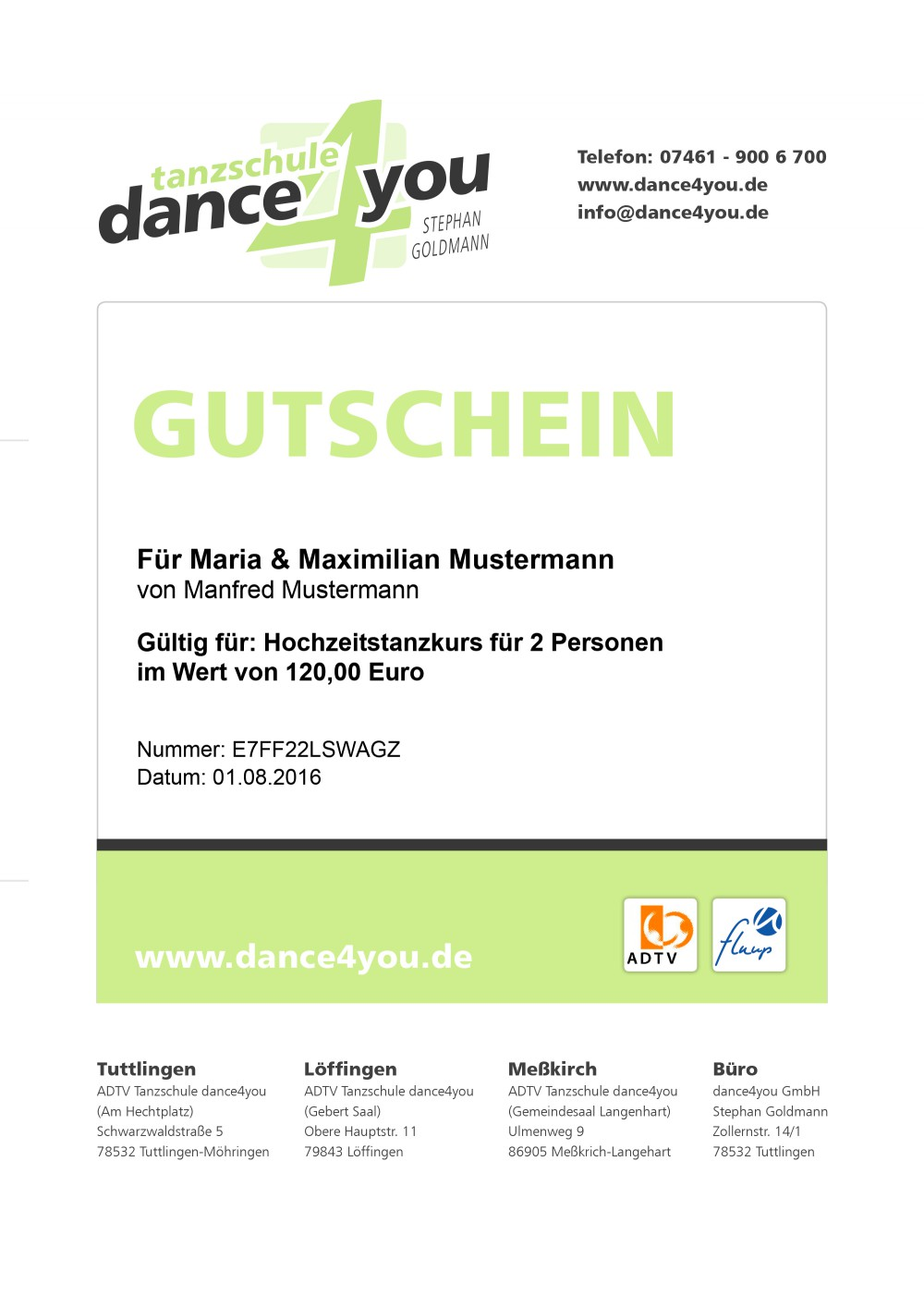 Gutschein » ADTV Tanzschule dance4you - Tanzkurse in Tuttlingen